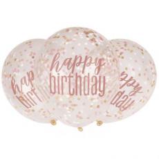 Priehľadné balóny s konfetami Happy Birthday Rose Gold 6 ks