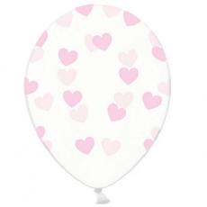 Priehľadné balóny so srdiečkami ružové 6ks