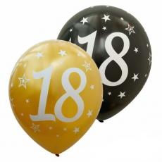 Balóny číslo 18 zlaté + čierne metalické