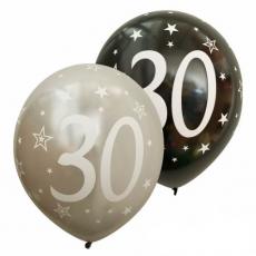 Balóny metalické číslo 30 strieborné + čierne 6ks