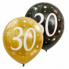 Balóny metalické číslo 30 zlaté + čierne 6ks