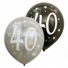 Balóny metalické číslo 40 strieborné + černé