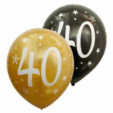 Balóny metalické číslo 40 zlaté + čierne 6ks