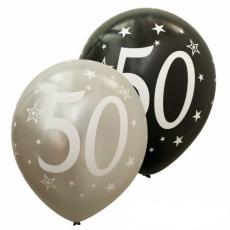 Balóny metalické číslo 50 strieborné + čierne 6ks