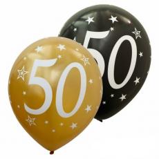 Balóny metalické číslo 50 zlaté + čierne 6ks