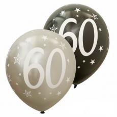 Balóny metalické číslo 60 strieborné + čierne 6ks