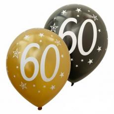 Balóny číslo 60 zlaté + čierne metalické