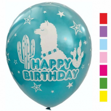 Balóny Happy Birthday Lama Metalické