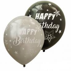 Balóny Happy Birthday strieborné + čierne