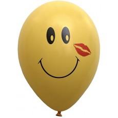 Balón s potlačou Smajlík 3 žltý mix