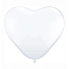 Balón gumový srdce biele Q 11´´ HRT White