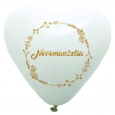 Balóny svadobné Mladomanželia srdce biele
