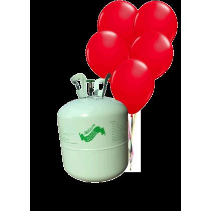 Hélium B50 na 50 bal. + 50 ks balónov - červené