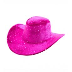 Klobúk kovbojský ružový s bodkami