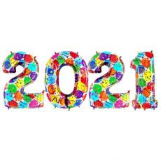Novoročné číslo 2021 Balónové 100 cm