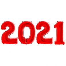 Novoročné číslo 2021 červené 66 cm
