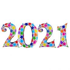 Novoročné číslo 2021 Hviezdičkové 100 cm