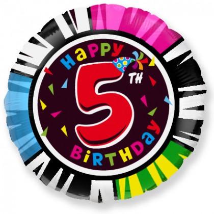 Balón Happy Birthday číslo 5