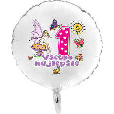 Balón Všetko najlepšie 1 víla kruh biely