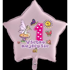 Balón Všetko najlepšie 1 víla hviezda ružová