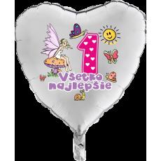 Balón Všetko najlepšie 1 víla srdce strieborný