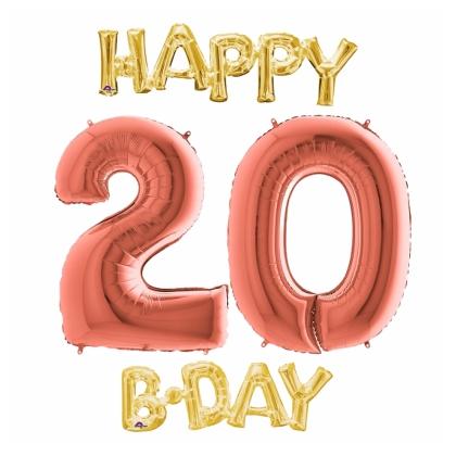Balón číslo 20 Happy B Day zlaté