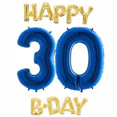 Balón číslo 30 Happy B Day zlaté