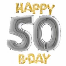 Balón číslo 50 Happy B Day zlaté