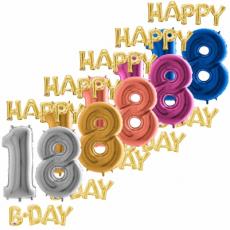 Balón číslo 18 Happy B Day zlaté
