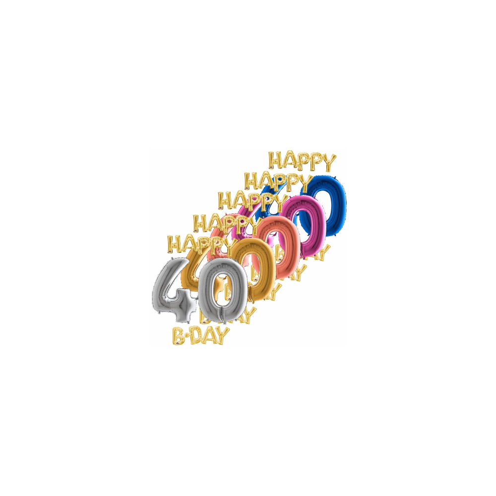 Balón číslo 40 Happy B Day zlaté