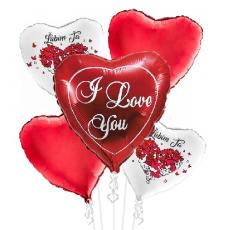 Balónová kytica Valentín Ľúbim Ťa