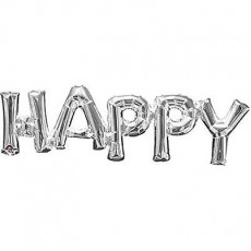 Balónový banner HAPPY strieborný