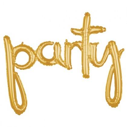 Balónový banner PARTY zlatý script