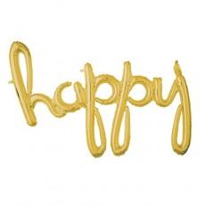 Balónový banner Happy script zlatý
