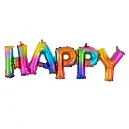 Balónový banner HAPPY farebný