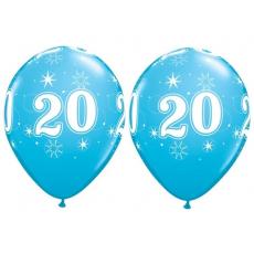 Balón narodeninový číslo 20 modrý 11´´ blue