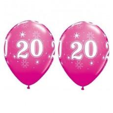 Balón narodeninový číslo 20 ružový 11´´ pink