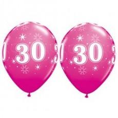 Balón narodeninový číslo 30 ružový 11´´ pink