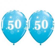 Balón narodeninový číslo 50 modrý  11´´ blue