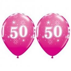 Balón narodeninový číslo 50 ružový 11´´ pink