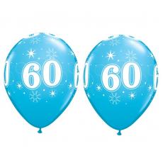 Balón narodeninový číslo 60 modrý  11´´ blue