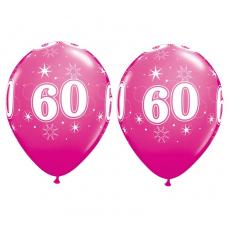 Balón narodeninový číslo 60 ružový 11´´ pink