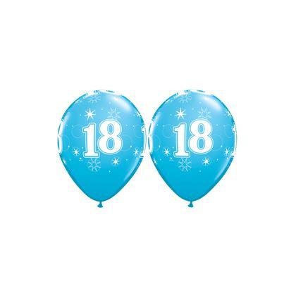 Balón číslo 18 Sparkle RND 11´´ blue Q
