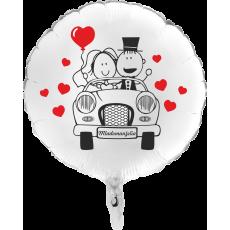 Balón Svadobné Auto biely kruh