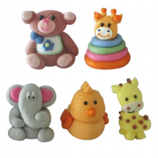 Cukrové dekorácie Zvieratká baby 5 ks