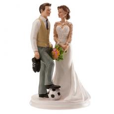 Svadobná dekorácia na tortu Nevesta a ženích futbalista