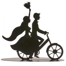 Dekorácia na Svadobnú tortu Ženích a nevesta na bicykli
