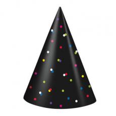 Párty klobúky Čierne s bodkami