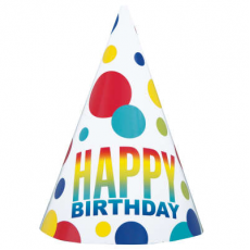 Párty klobúky Happy Birthday bodky