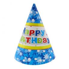 Party klobúky Happy Birthday modré